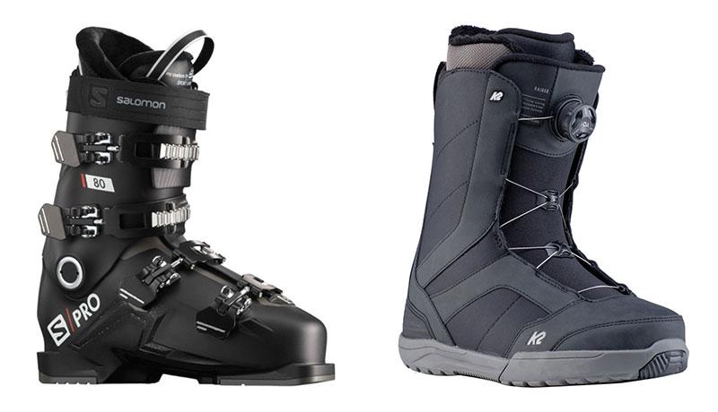 Smučarski čevlji Salomon S Pro 80 in snowboard čevlji K2 Raider